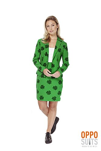 St Patricks Day Girl Damen Kostüm Opposuit Irland Slimline 2-teilig Premium