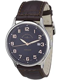 Zeno Watch Basel Flatline 6209-c1 - Reloj analógico automático para hombre, correa de cuero color negro