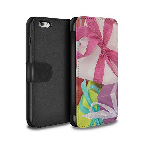 Stuff4 Coque/Etui/Housse Cuir PU Case/Cover pour Apple iPhone 6+/Plus 5.5 / Cone Pin/Conifère Design / Photo de Noël Collection Cadeau Rose
