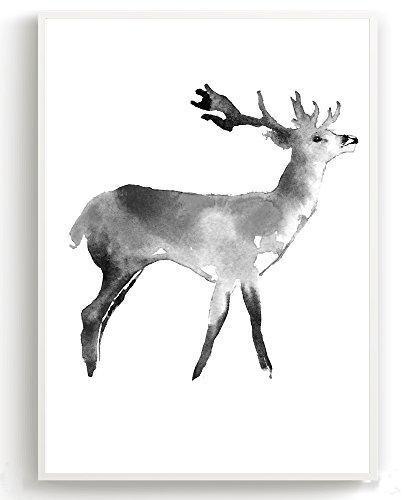 Wandposter für Wohnzimmer, Schlafzimmer, Arbeitszimmer Poster, Wandbild, Wanddruck edel (DIN A4 3er-Set) Hirsch - 3