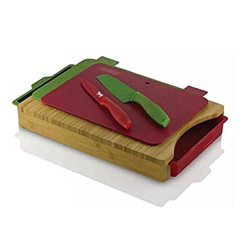 Viners Marvel Couteau et Planche à découper Set de 6Pièces–Contient Santoku et couteau d'office 2planches à découper colorées 2compartiments de rangement et bloc Planche à découper en bois