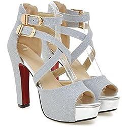 mogeek Sandalias de Tacon Alto de Mujer Zapatos de Vestir Verano (Plateado,39)