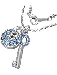 Mode Kristall Vorhängeschloss Schlüssel Charm Halskette mit Schmucksteinen - Blau