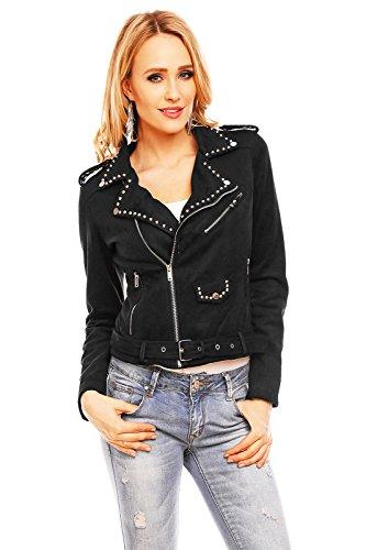 Mayaadi Damen Kunstleder-Jacke Übergangs-Jacke Luxus Wild-Leder Motorrad-Jacke Biker-Jacke Gürtel Nieten WS-933 Schwarz S - Leder Jacke Motorrad Damen