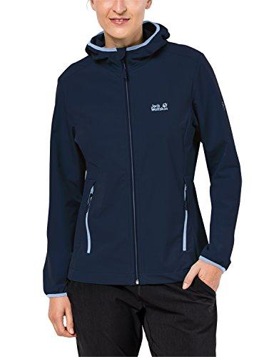 Jack Wolfskin Damen Turbulence Jacket Women Wasserabweisend Atmungsaktiv Outdoor Funktionsjacke Wanderjacke Softshelljacke, Midnight Blue, L