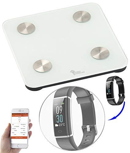 newgen medicals 7in1-Körperanalysewaage mit Fitness-Armband FBT-50.HR PRO.V5, App