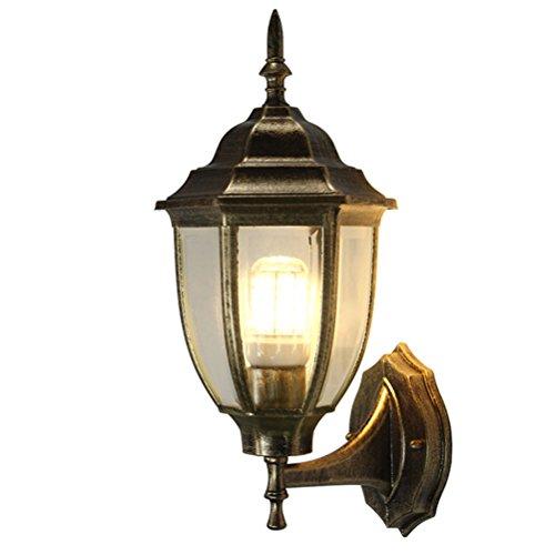 Wandleuchte Im Freien Wandbehang Laterne up Light Vintage Series Traditionelles Design Bronze Finish, Klarglas Wandleuchte,Brass (Klarglas-finish)