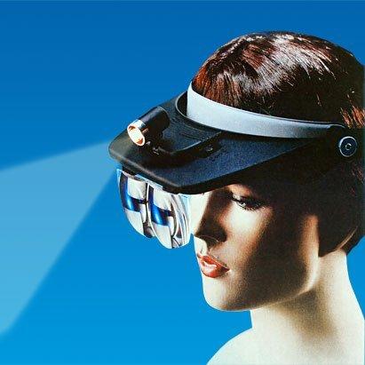Profi Stirnlupe mit Beleuchtung 8,75x Vergrößerung Kopflupe Uhrmacherlupe