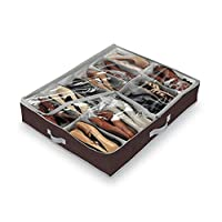 Domopak living Large Underbed Shoe Organiser, 12 compartments (Brown ) 76 x 60 x 15 cm