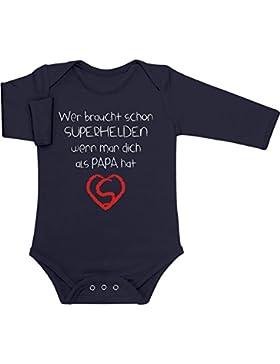 Shirtgeil Wer Braucht SUPERHELDEN Wenn Man Dich Als Papa Hat Baby Langarm Body