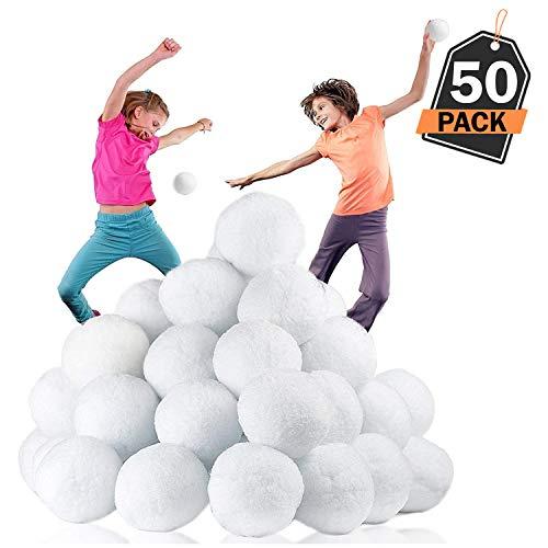 Confezione di 50 palle da neve xl per interno con sensazione reale per guerra con palle da neve - 7.7cm, senza sporco, non macchiano, non sciolgono per ore di divertimento