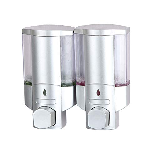 KTYXDE Seifenspender, 600ml Silber Shampoo Dusche Handdesinfektionsmittel Gel Doppelflasche, Wandseifenhalter, Hotelküche Badezimmer Seifenspender (Color : Silver) -