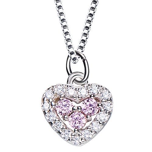 Wff collana da donna europea e americana, collana in argento sterling s925, gioielli versatili da donna, catena con zirconi artificiali intarsiati,rosa,argento 925