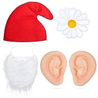 Beelittle Gnome Dwarf Garden Fairytail Costume Accessories - Hat Beard Big Ears Spring Yellow Flower Pin - Dwarf Fancy Dress (Red Hat Set)