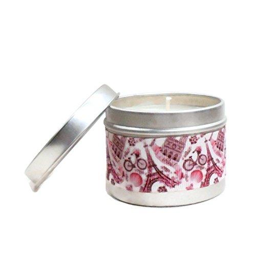 Vela perfumada - Verbena - cera vegetal - Romantic Pink Paris Ribbon - Vela natural 100 gr durante 25 horas Regalos Mom Dad Regalos Amigos Parejas Regalos de Navidad Regalos Boda de aniversario Regalo de San Valentín personalizados Día de la madre