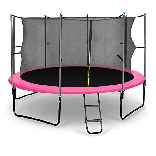 Klarfit Rocketgirl 366 Trampolin Gartentrampolin (366 cm Durchmesser, Sicherheitsnetz, Abdeckbaube, bis max. 150 kg belastbar, Stangen gepolstert, Schaumstoff Abdeckung) pink