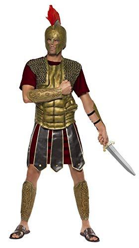 Kostüm Herren Gladiator - Smiffys Herren Perseus der Gladiator Kostüm, Tunika, Brustteil, Arm- und Beinmanschetten, Größe: L, 38370