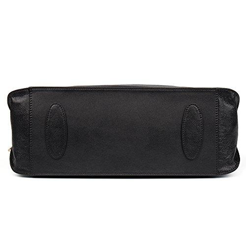CLUCI Vera Pelle Borsa Donna Sacchetta Tote a Mano Spalla Top-Handle Leather Bag Designer 7-Grande nero