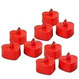 BESTOYARD LED Kerzen Flammenlose Wasserdicht Herz Form Teelicht Kerzen für Weihnachten Hochzeit Geburtstag Fenster Deko 10 Stück (Rot)