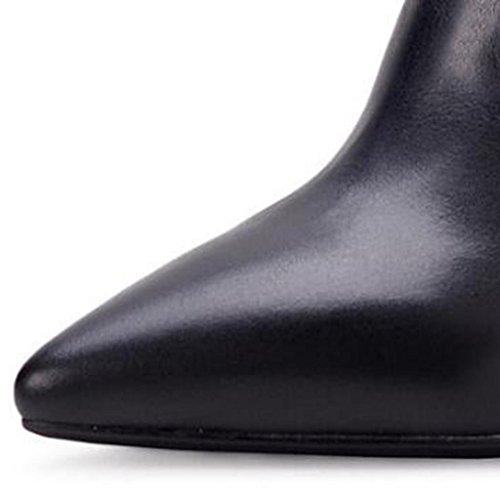 Scarpe basse impermeabili Ladies appuntito Stivali pelosi Boots neri degli alti talloni 6.5CM Corteccia 8034FD , black , 35 BLACK-39