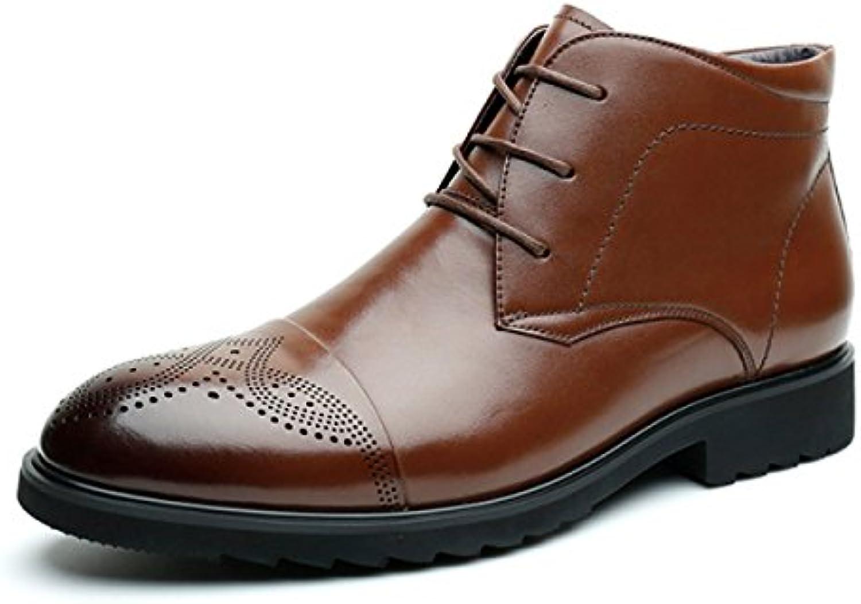 NBWE Herren Echtes Leder Business Kleid Schuhe Brocock Carved Warm Martin Stiefel