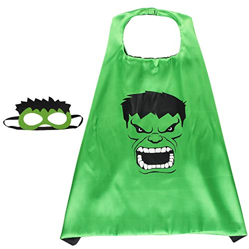 Hulk Kostüm Mit Maske - BUY-TO Superheld Cape Superheld Cosplay Kostüm für Kinder Halloween Party Kostüme für Kinder Superman Spiderman Mantel mit Maske,Hulk