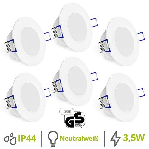 linovum® WEEVO 6er Set IP44 Einbaustrahler LED 230V für Bad & Außen - runde Deckenspots neutralweiß 3,5W flacher Einbau 29 mm