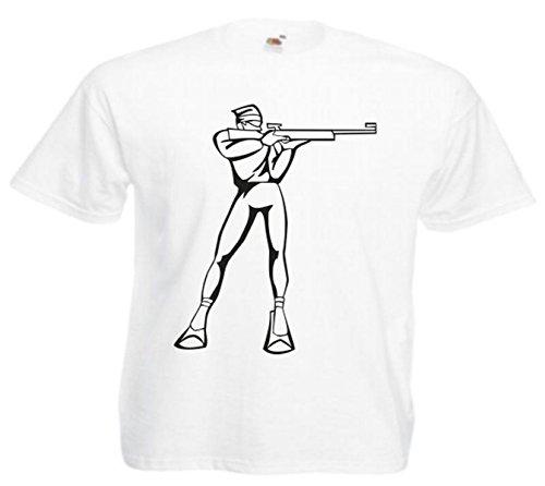 Motiv Fun T-Shirt Biathlohn Langlauf Wintersport Mega Sports Fun Motiv Nr. 4797 Weiß