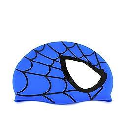 Avril Tian Badekappe, Wasserdichter Silikon-Unisex-Badehut Spinnenmuster Langhaarhut für Kinder, Jungen und Mädchen für den Wassersport