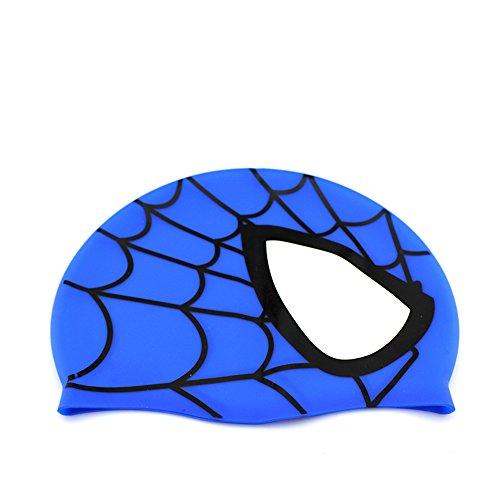Avril Tian Badekappe, wasserdicht, Silikon, Unisex, Schwimmen, Spiderman-Design blau