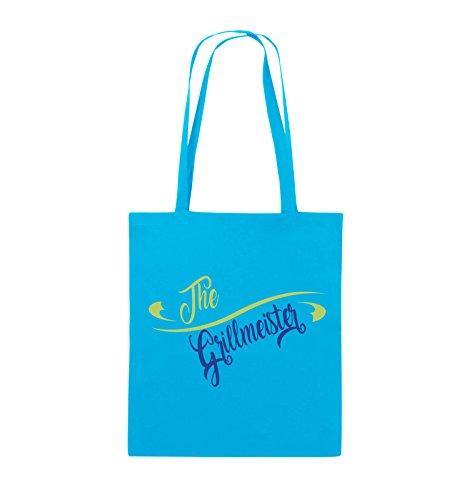 Comedy Bags - The Grillmeister - Jutebeutel - lange Henkel - 38x42cm - Farbe: Schwarz / Weiss-Neongrün Hellblau / Hellgrün-Royalblau
