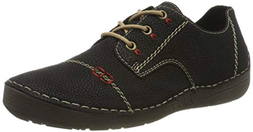 Rieker Herbst/Winter, Zapatos de Cordones Derby para Mujer, Negro Schwarz 00, 39 EU