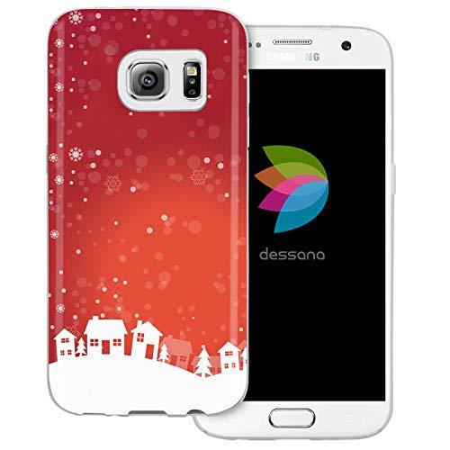 dessana Weihnachten Pattern transparente Schutzhülle Handy Case Cover Tasche für Samsung Galaxy S7 Weihnachtsdorf