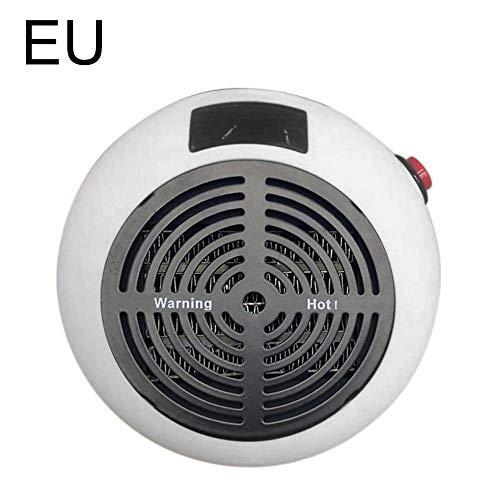 Wovemster Mini calentador de ventilador para calentadores tomas con temporizador 600W Calentador mano cerámica baño Cuarto niños Dormitorio Oficina instantáneo(EU-Blanco)