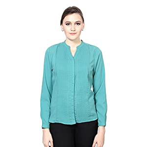 Allen Solly Women's Regular Fit Shirt_ AWTS515R00465_XS_ Green