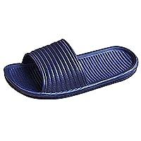 Indoor Floor Slipper Unisex Bathroom Slippers Anti Slip (44, dark blue)