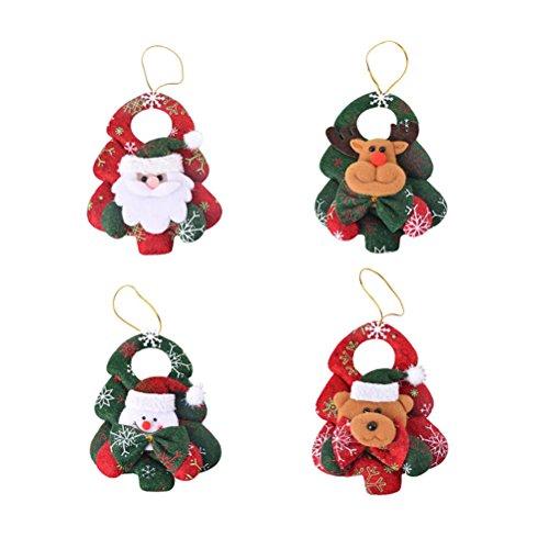 Abbellimenti natale tessuto oulii decorazioni natalizi a forma di babbo natale pupazzo di neve renna e orso da appendere per albero di natale