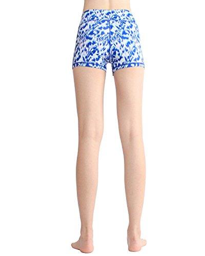 SOUTEAM Femmes Printed Yoga Shorts Leggings élastiques Slim Activewear avec poche imprimé bleu et blanc