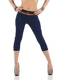 Damen Chino Stoffhose Bermuda Capri Hose Sommerhose Boyfriend Shorts inkl. Gürtel ( 493 )