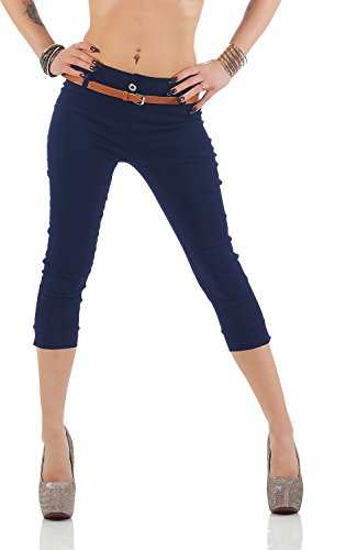 Damen Chino Stoffhose Bermuda Capri Hose Sommerhose Boyfriend Shorts inkl. Gürtel (493), Grösse:M/38, Farbe:Blau