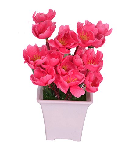 Pindia Artificial Dark Pink Flower Plant with Pot for Home and Office Decor (8x8x17, cms)  available at amazon for Rs.230