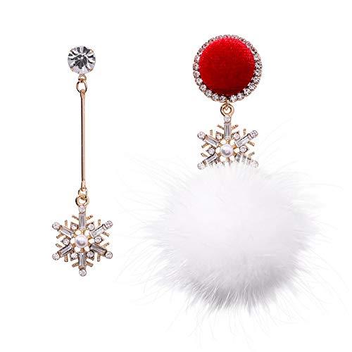 ZHWM Ohrringe Ohrstecker Ohrhänger Weihnachten Schneeflocke Asymmetrische Süße Ohrringe Kristall Von Swarovski 925 Silber Pin Inlay Zirkon Ohrringe Frauen