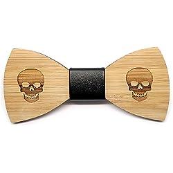 BOBIJOO Jewelry - Nodo de la Mariposa de Madera de Bambú Hombre del cráneo del Motorista Triker Cráneo Hecho a Mano de Cuero