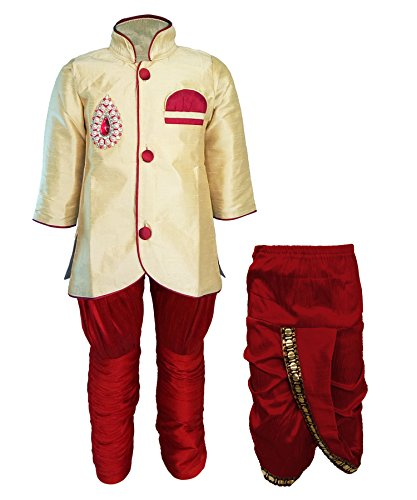 JBN Creation Boys Indo Western with Dhoti and Breeches Combo Set of...