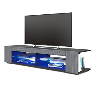Vladon TV Unit Stand Movie, Carcass in Black matt/Front in Avola-Anthracite with LED lighting in Blue