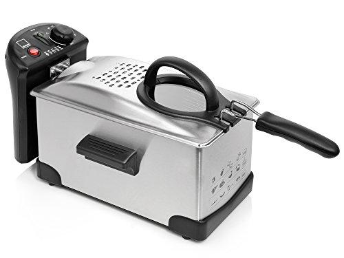 Sänger Fritteuse aus Edelstahl   2.100 Watt Leistung   3 Liter Fassungsvermögen   Kaltzonen Friteuse mit stufenlosem Thermostat und Temperaturkontrollleuchte   Deckel verhindert Fettspritzer