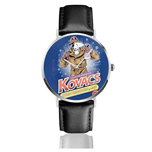 Unisex Business Casual Uhren Rorschach Kovacs Fleckenentferner Uhren Quarz Leder Uhr mit schwarzem Lederband für Männer Frauen Young Collection Geschenk