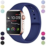 Hamile Cinturino Compatibile con Apple Watch 42mm 44mm, Cinturini Sportiva in Morbido Silicone di Ricambio per Apple Watch Series 5/4/3/2/1, S/M Blu
