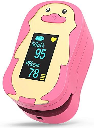 HOMIEE Pulsoximeter für Kinder, Fingerpulsoximeter zur Messung des Puls und der Sauerstoffsättigung, Oximeter mit OLED-Display und einfacher One-Touch Bedienung