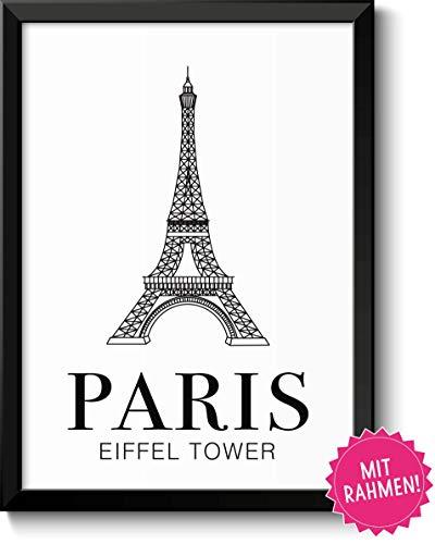 (Paris Eiffel Tower - Bild mit Rahmen - Geschenk Geschenkidee Paris Liebhaber Geburtstag Weihnachten)